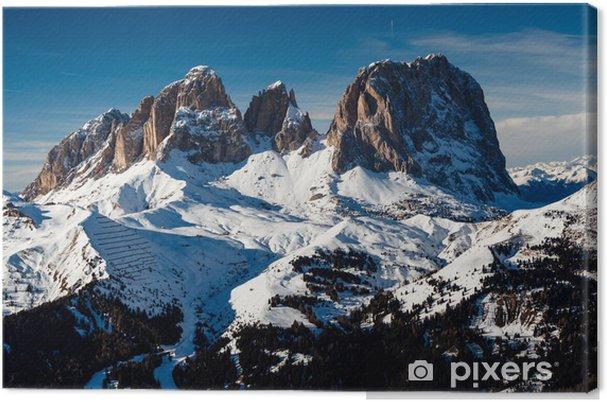 Cuadro en Lienzo Pico Passo Sella en la estación de esquí de Canazei, Dolomitas Alpes, me - Europa