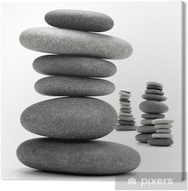 Cuadro en Lienzo Piedras apiladas - pila de piedras aisladas en blanco - galets - Texturas