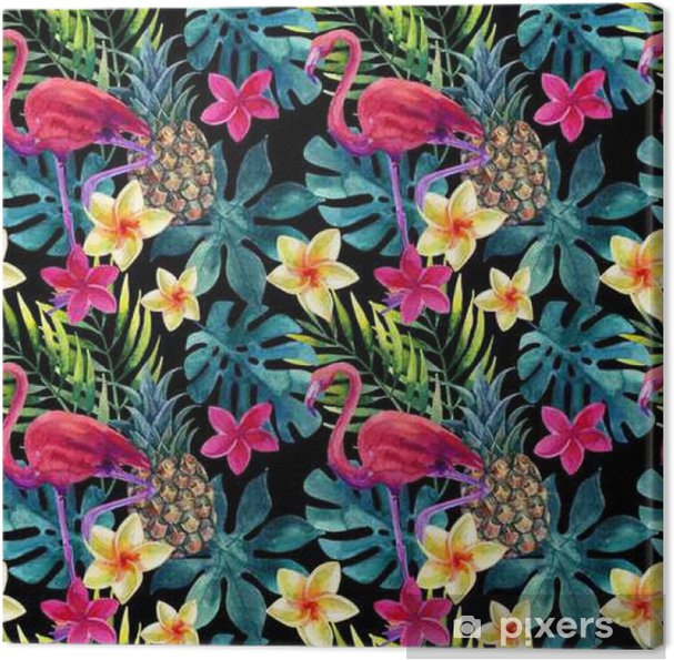 Cuadro en Lienzo Piña tropical acuarela, flores y hojas con las sombras - Plantas y flores