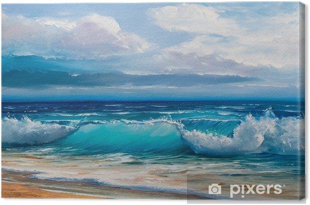 Cuadro en Lienzo Pintura al óleo del mar sobre lienzo. - Hobbies y entretenimiento