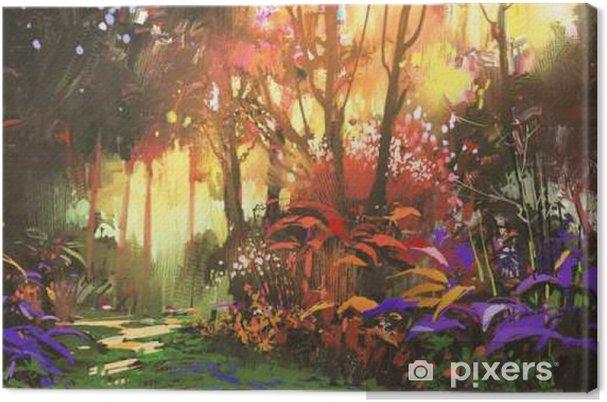 Cuadro en Lienzo Pintura de paisaje del hermoso bosque con la luz solar, la ilustración - Hobbies y entretenimiento