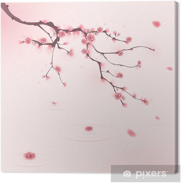 Cuadro en Lienzo Pintura oriental del estilo, flor del cerezo en primavera - Estilos