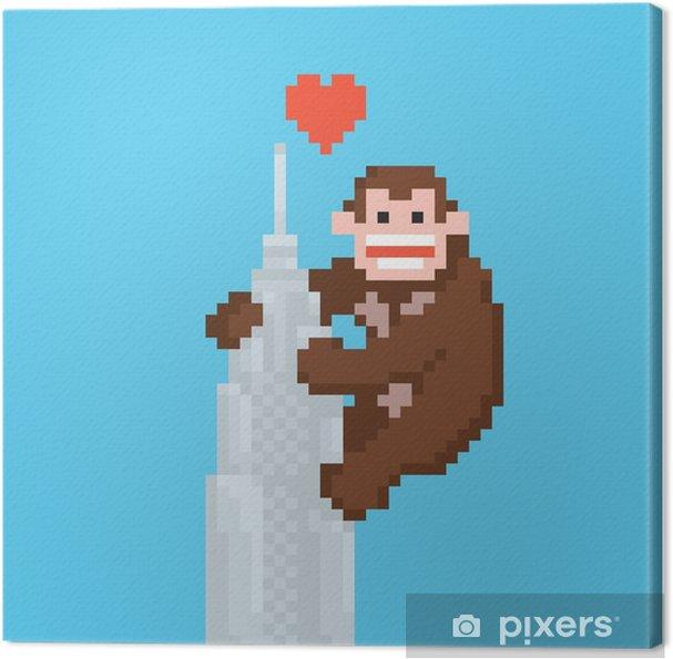 Cuadro en Lienzo Pixel gorila del estilo del arte en un vector de rascacielos - Animales