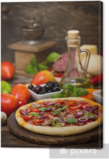 Cuadro en Lienzo Pizza con jamón, champiñones y queso - Temas