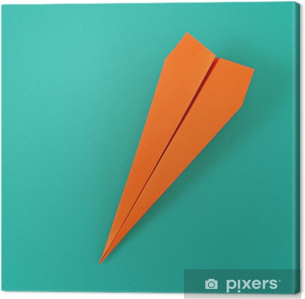 Cuadro en Lienzo Plano plano avión de papel de colores sobre fondo turquesa pastel. concepto de fondo de viaje creativo de vista superior - Recursos gráficos