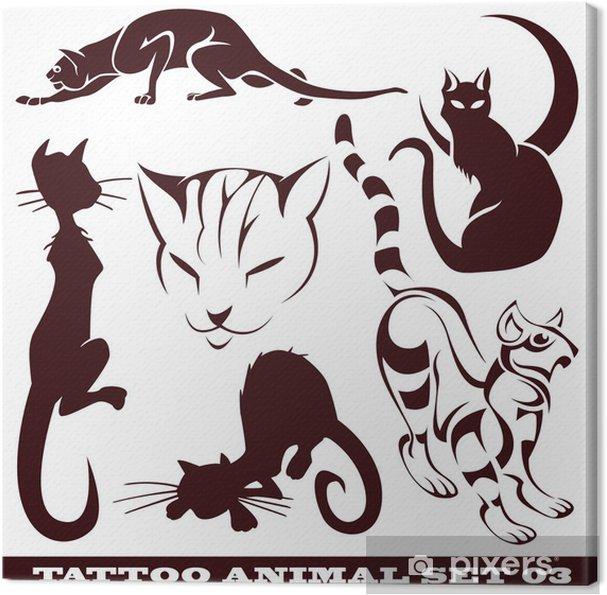 Cuadro En Lienzo Plantillas Gatos Para Tatuaje Y Diseño Sobre