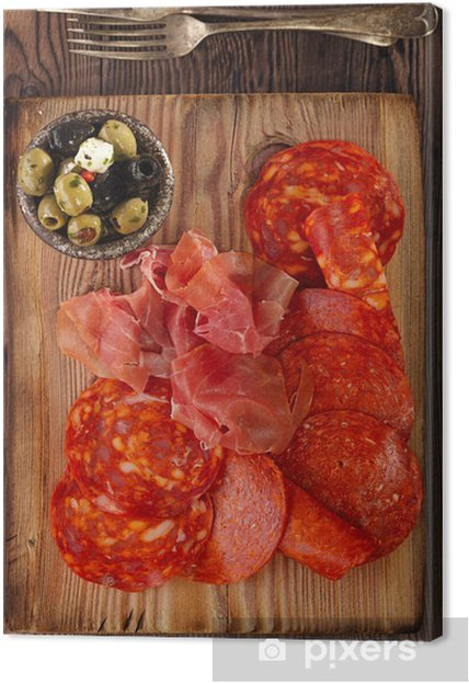Cuadro en Lienzo Plato de jamón serrano curado de la carne, chorizo y aceitunas - Temas