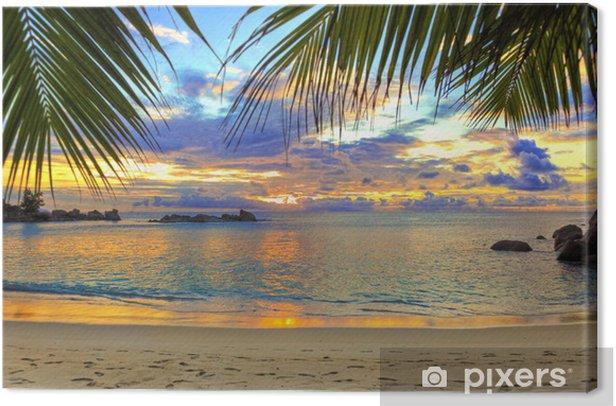 Cuadro en Lienzo Playa tropical al atardecer - Temas