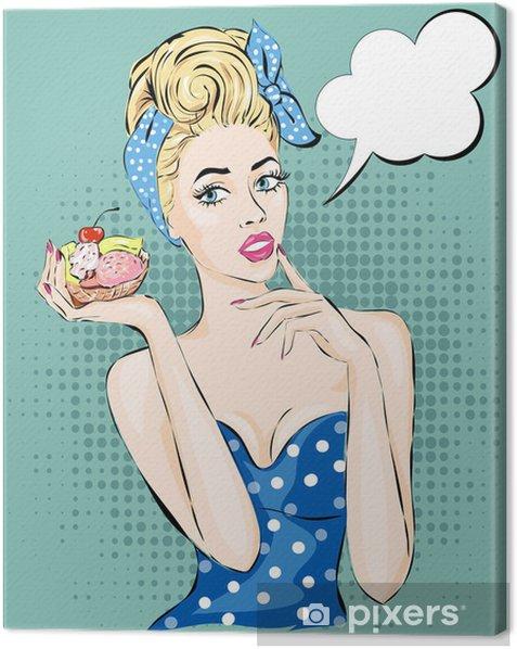 Cuadro en Lienzo Pop Art ilustración de la mujer con la taza de té por la mañana. Pin-up niña de la burbuja del discurso. Moda, mujer atractiva - Celebraciones