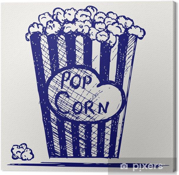 Cuadro en Lienzo Popcorn explosión en el interior del envase. Doodle estilo - Entretenimiento