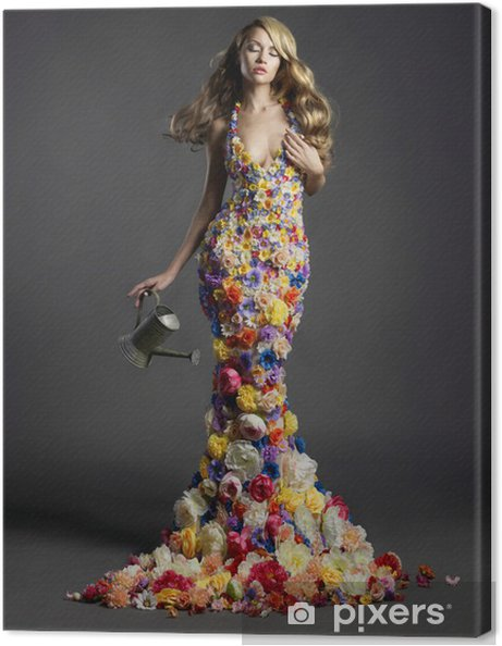 dbbaf791a Cuadro en Lienzo Preciosa dama en vestido de flores • Pixers ...