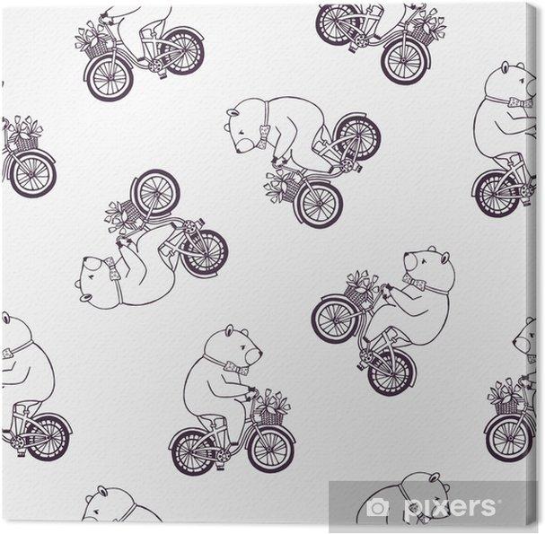 Cuadro en Lienzo Precioso patrón sin costuras con oso de dibujos ...