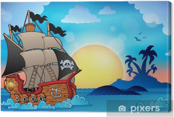 Cuadros en lienzo premium Barco pirata cerca de la pequeña isla de 3 -