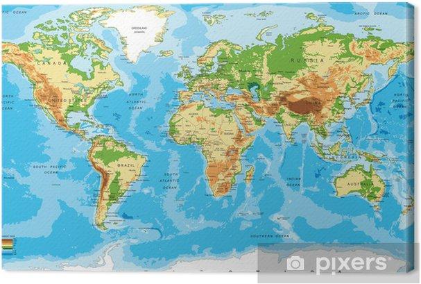 Cuadros en lienzo premium Mapa físico del mundo - Otros
