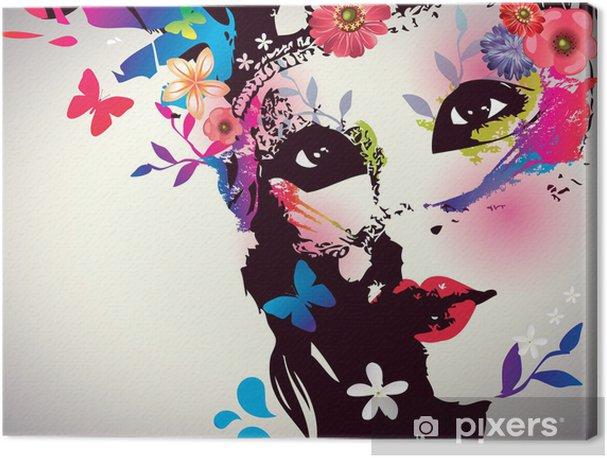 Cuadros en lienzo premium Muchacha con la máscara / ilustración vectorial - Moda