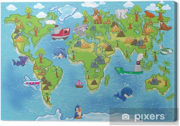 Cuadros en lienzo premium Niños mapamundi - iStaging