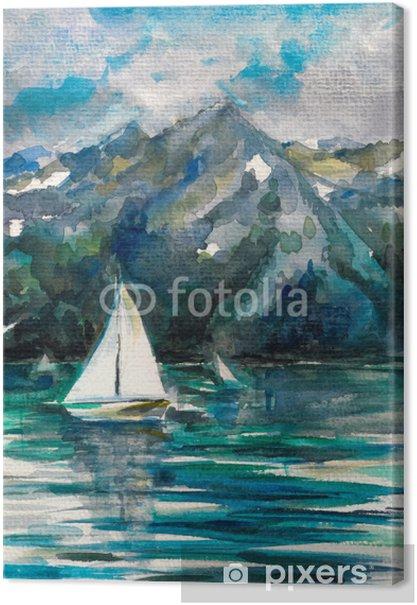 Cuadros en lienzo premium Velero en el lago de la acuarela pintada. - Agua