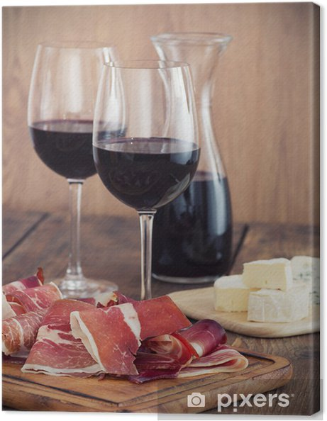 Cuadro en Lienzo Prosciutto en rodajas con vino tinto y aceitunas - Temas