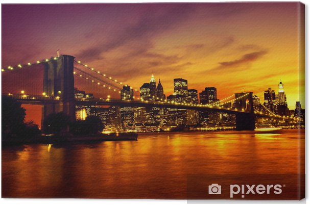 Cuadro en Lienzo Puente de Brooklyn al atardecer - Temas