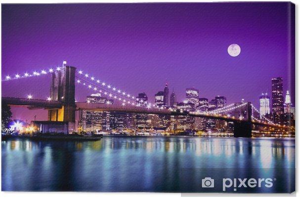 Cuadro en Lienzo Puente de Brooklyn y el horizonte de Nueva York con luna llena -