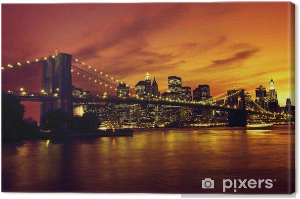 Cuadro en Lienzo Puente de Brooklyn y Manhattan al atardecer, Nueva York -