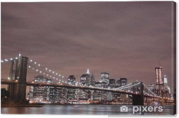 Cuadro en Lienzo Puente de Brooklyn y Manhattan horizonte en la noche, New York City - Temas
