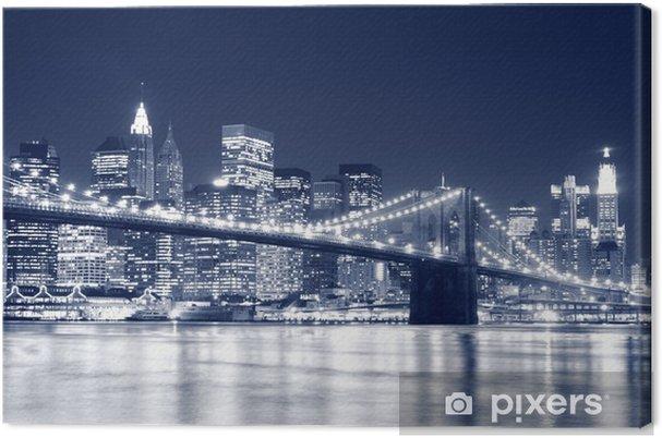 Cuadro en Lienzo Puente de Brooklyn y Manhattan horizonte en la noche, New York City -
