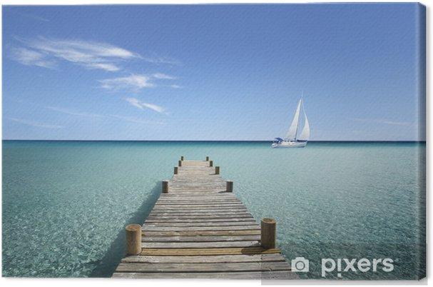 Cuadro en Lienzo Puente de madera en mi mar - Vacaciones