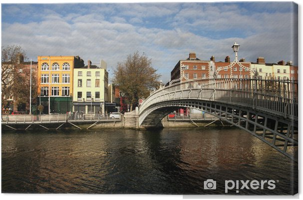 Cuadro en Lienzo Puente del medio penique en Dublín - Europa