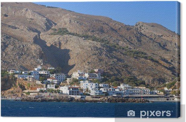 Cuadro en Lienzo Puerto Sfakia y el pueblo en la isla de Creta en Grecia. - Europa
