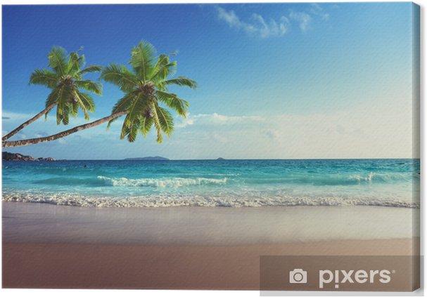 Cuadro en Lienzo Puesta de sol en la playa de Seychelles - Palmeras
