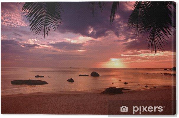 Cuadro en Lienzo Puesta de sol en la playa del Golfo de Tailandia en el Koh Samui - Palmeras