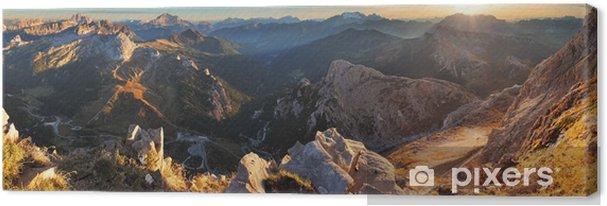 Cuadro en Lienzo Puesta de sol Panorama de la montaña del paisaje - en Italia Alpes - Dolomitas - Temas