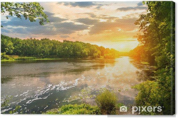 Cuadro en Lienzo Puesta de sol sobre el río en el bosque - Temas