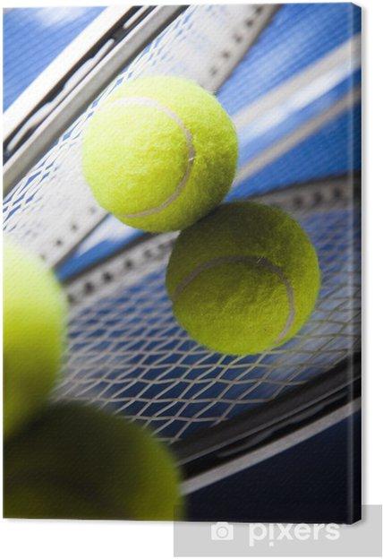 Cuadro en Lienzo Raqueta de tenis y pelotas, deporte - Tenis