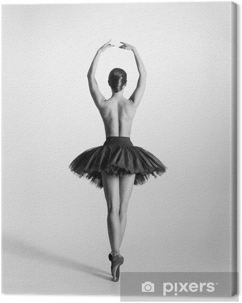 Cuadro en Lienzo Rastro blanco y negro de una bailarina de ballet en topless - Ropa interior