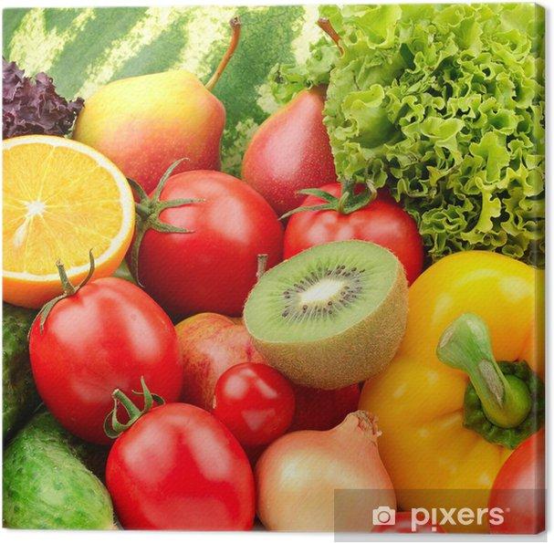 Cuadro en Lienzo Recogida de frutas y verduras de fondo - Temas
