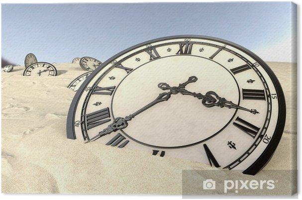 Cuadro En Lienzo Relojes Antiguos En Arena Del Desierto Primer