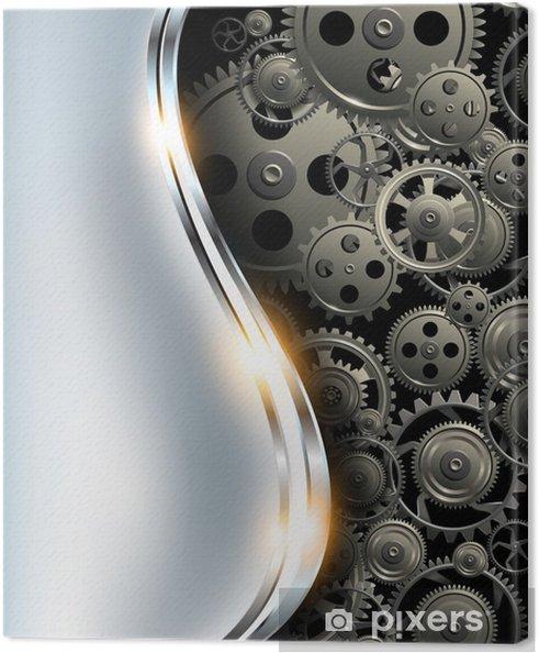 Cuadro en Lienzo Resumen de fondo metálico de plata del cromo con engranajes - Los Relojes