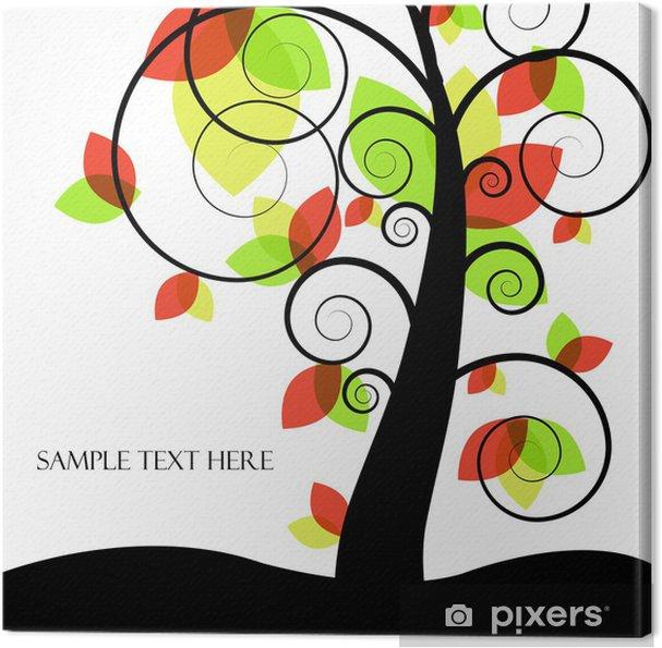 Cuadro en Lienzo Resumen de vectores de árbol con hojas de color - Árboles