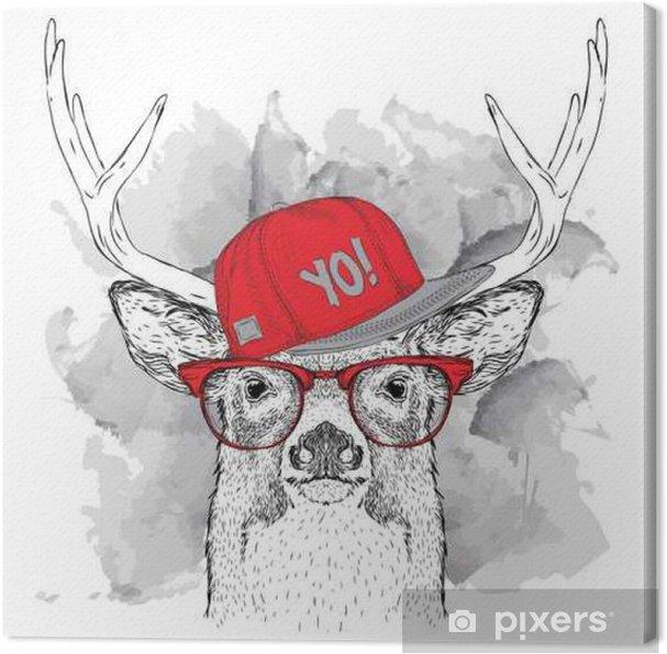 Cuadro en Lienzo Retrato de ciervo con gafas, auriculares y en el sombrero de hip-hop. Ilustración del vector. - Animales