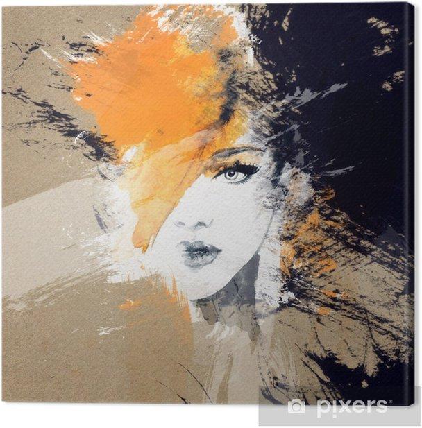 Cuadro en Lienzo Retrato de la mujer. acuarela abstracta. Fondo de la manera - Gente