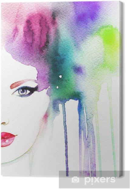 Cuadro en Lienzo Retrato de la mujer. acuarela abstracta. Fondo de la manera 10c1a704fc5