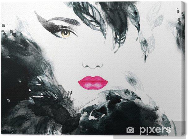 Cuadro en Lienzo Retrato de la mujer. acuarela abstracta. Fondo de la manera - Moda