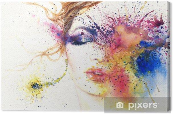 Cuadro en Lienzo Retrato de mujer. Acuarela abstracta. Fondo de moda ... 3e09f251a27