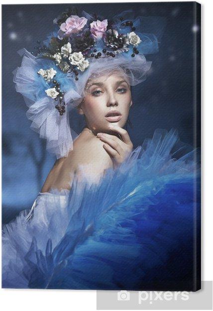 Cuadro en Lienzo Retrato de una mujer con sombrero de flores ... f1991ee69f7
