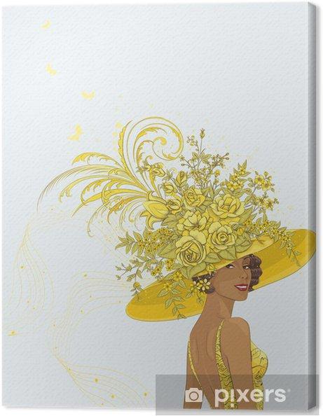 Cuadro en Lienzo Retrato de una mujer joven en la decoración del sombrero  amarillo con flores 466447e6b88
