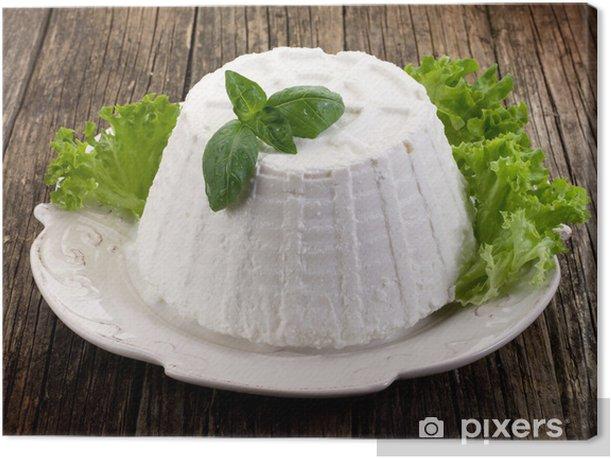 Cuadro en Lienzo Ricotta con la albahaca y lechuga sobre plato - Queso