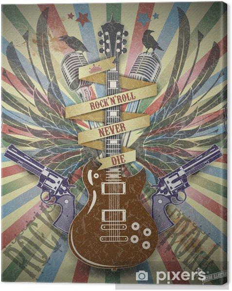 Cuadro en Lienzo Rock n roll de fondo estilo symbol.Retro. - Rock