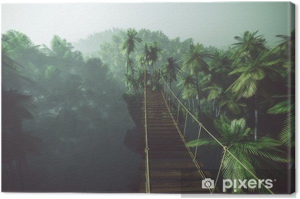 Cuadro en Lienzo Rope bridge in misty jungle with palms. Backlit. - iStaging